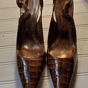 Faux Croc Leather Slingbacks